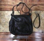 Кожаная темно-корич. жен сумка