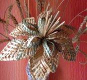 Цветок плетёный, пшеничная соломка.