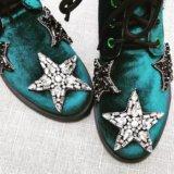 Зеленые бархатные ботинки %21