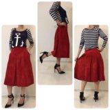 Красная замшевая юбка,40-44, туфли guess, 36,5