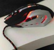 Мышь игровая бусшумная корпус алюминиевый новая