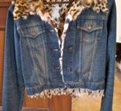 Джинсовая куртка с мехом камышового котика