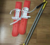 Лыжи пластиковые+палки