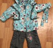 Весенний костюм для девочки, утеплённый, 86-98