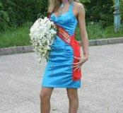 НОВОЕ!!!Платье, голубой атлас!