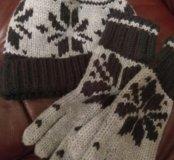 Шапка+перчатки(лыжный комплект)