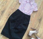 Юбка, блузка, туфли