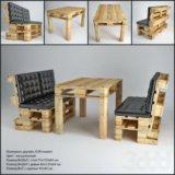 Столы и диваны из поддонов для кухни