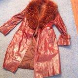 Пальто кожаное енот натуральный