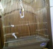 Клетка для птиц со всей атрибутикой