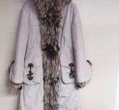 DEBA ДЕВА р.50-52 новое зимнее пальто нат. мех