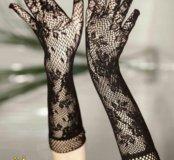Перчатки кружевные черные