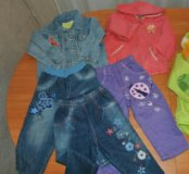 Джинсы, куртка и кофта пакетом 12-18мес.