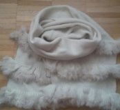 Новый мягкий шерстяной шарф с мехом