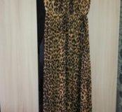 Леопардовое платье в пол 46-48-50