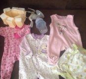 Одежда для девочки 0-2 месяца + молокоотсос