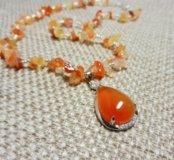 Ожерелье из агата и сердолика