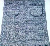 Теплая серая юбка из шерсти р-р 44-46