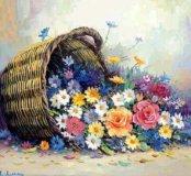 Репродукция Пестрые цветы в багете 55*75 см
