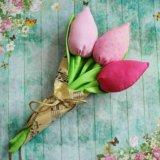 Букет из 3 тюльпанов. Текстильные тюльпаны