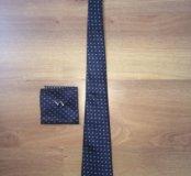 галстук+запонки+платок новый набор