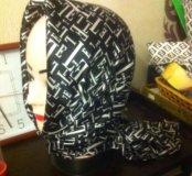 Новый платок косынка двойная теплая шелк атлас