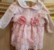 Нарядное платьице на малышку 0-7 месяцев