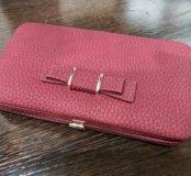 Новый женский кошелёк клатч натуральная кожа