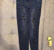 Джегинсы джинсовые с дырками