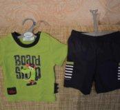 Новый комплект (футболка+ шорты). р-р 74.