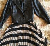 Кожаная куртка + юбка, новые