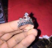 Себерберрное кольцо корона с фианитом