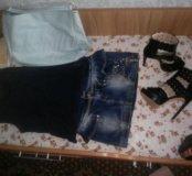 Майка ,юбка,басаножки и сумка