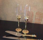 Бокалы свадебные, ножик и лопатка для торта