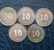 5 серебряных монет straits settlements