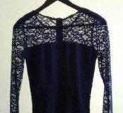 Кружевной синий топ (блузка)