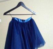 Пышная фатиновая юбка темно-синего цвета