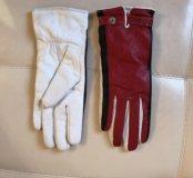 Кожаные перчатки утеплённые, размер s