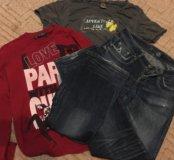 Джинсы и две футболки мужские