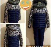 Женский зимний теплый костюм, новый, 56-58