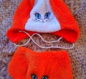 Шапочка и шарфик демисезонные, на 6-9 месяцев