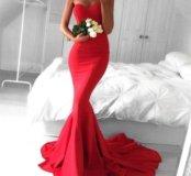Платье красное русалка новое