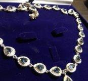 Колье серебро в золоте с топазами