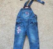 Отличный джинсовый полукомбинезон на флисе