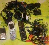 Телефоны на запчасти или ремонт + зарядки