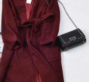 Пальто-халат марсала