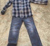 Комплект как новый, джинсы на флисе и новая рубашк