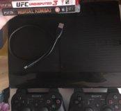 Sony ps3 super slim 500гб 2 джойстика 4 игры