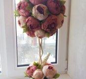 Топиарии.Цветочные композиции.Искусственные цветы.