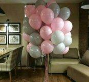Гелиевые шарики розовый и серый